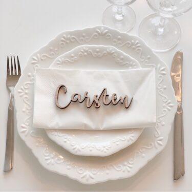 Bordkort med gæsternes navne til bryllup, fest, barnedåb, jul eller en festlig lejlighed